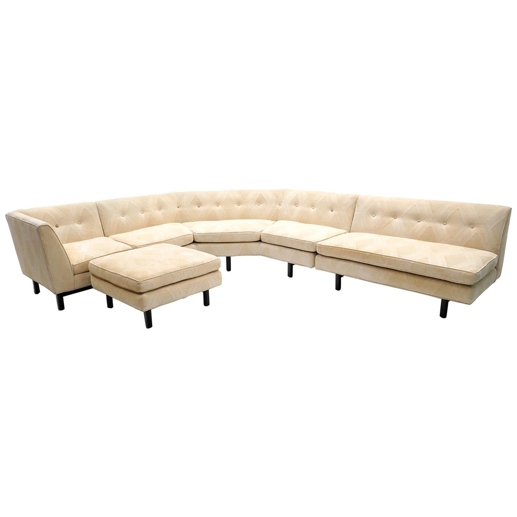 Sectional Sofa with Ottoman by Edward Wormley for Dunbar, L Shape, Reversable