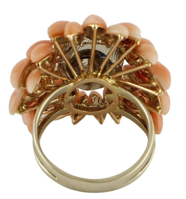 Retro Corals, Diamonds, Blue Sapphires, 14 Karat White Gold Lion Ring For Sale