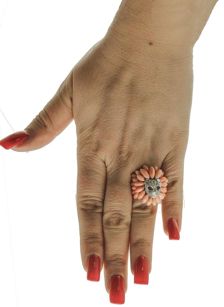 Women's Corals, Diamonds, Blue Sapphires, 14 Karat White Gold Lion Ring For Sale