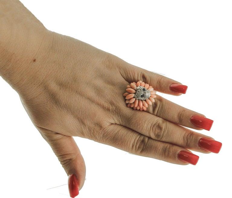 Corals, Diamonds, Blue Sapphires, 14 Karat White Gold Lion Ring For Sale 1