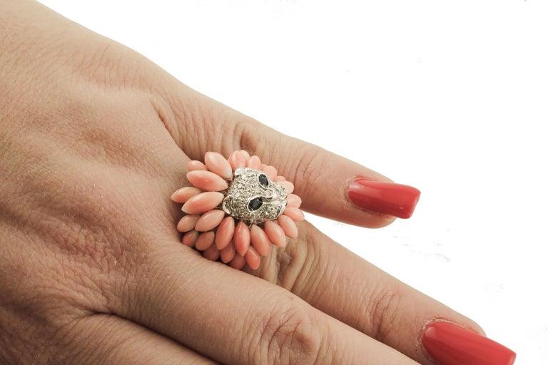 Corals, Diamonds, Blue Sapphires, 14 Karat White Gold Lion Ring For Sale 2