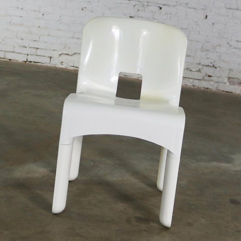 Mid-Century Modern Sedia Universale 4867 Plastic Chair by Joe Columbo for Kartell in White For Sale