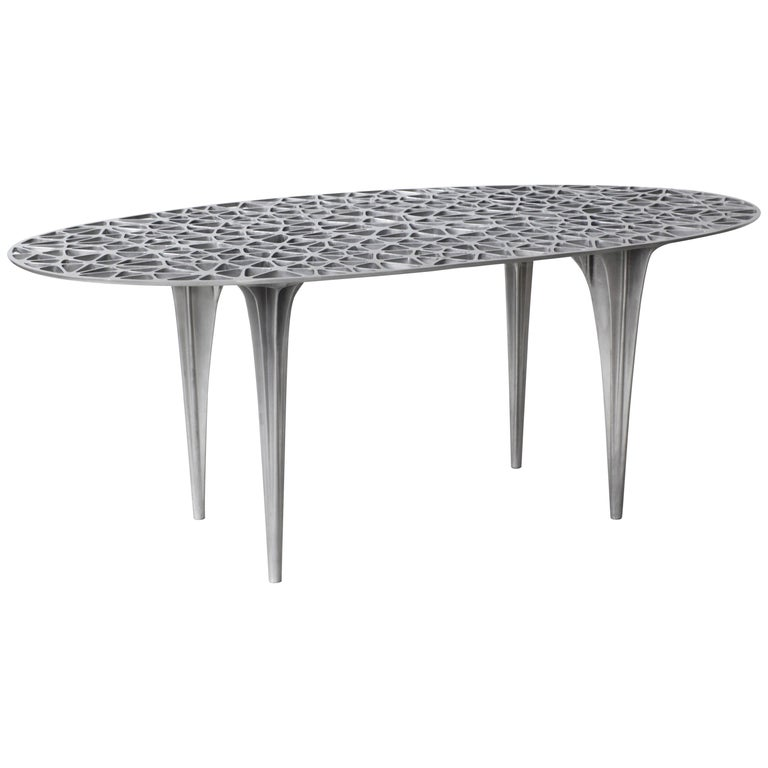 Sedona Round Center Dining Table Glass Top Polished Aluminium by Janne Kyttanen For Sale