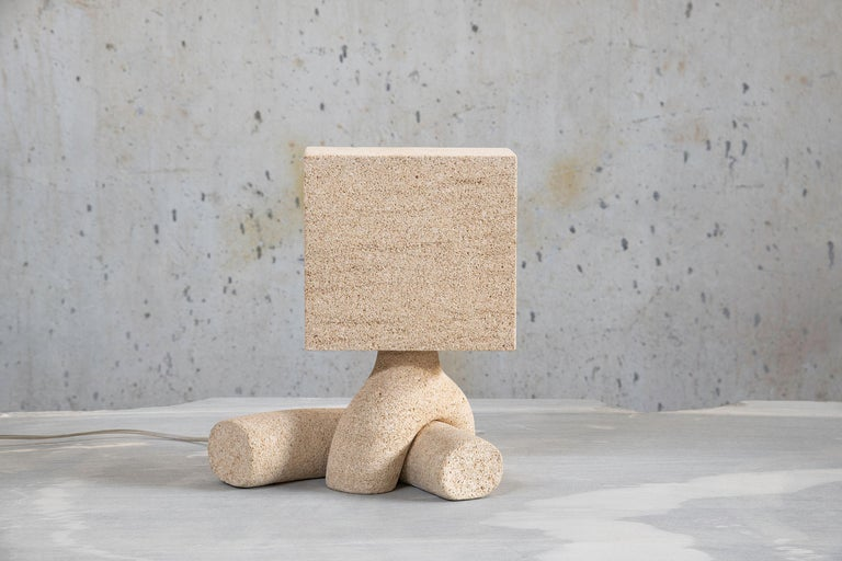 Seduction, Pair 04, 2018 Niwala sandstone. Edition of 5. Dimensions: 13.5 x 12.5 x 8.25 inches; 34 x 32 x 21 cm.  Najla El Zein was born in Beirut in 1983, and graduated from École Camondo, Paris, France with a BA in Product Design and an MA in