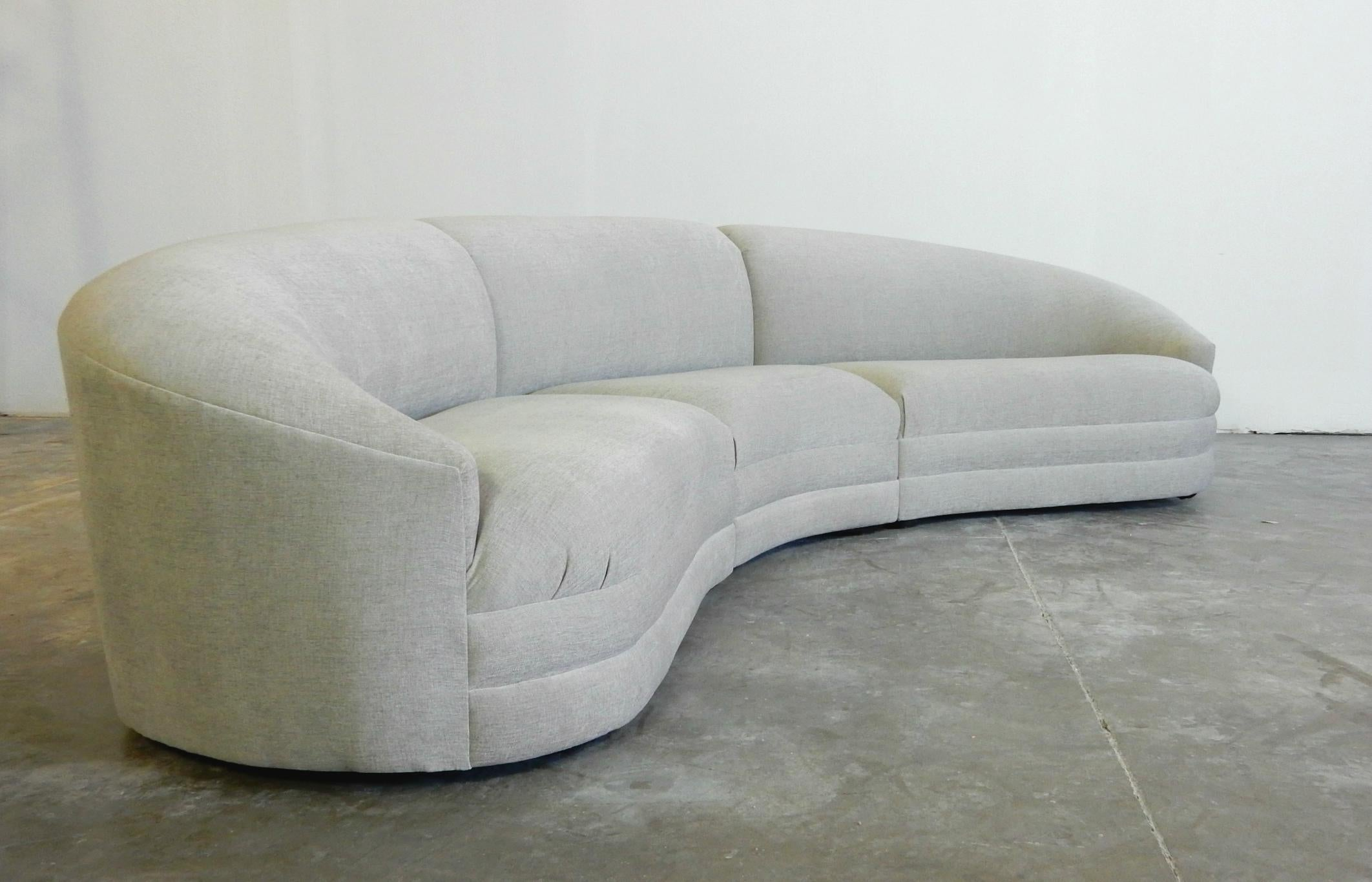 Seductive Grey Sectional Sofa, Circa 1980s