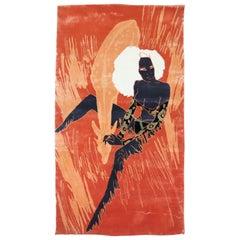 Seductive Orange Modern Wool Silk Rug