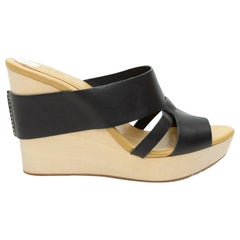 See by Chloe Black Leather Wedge Sandals