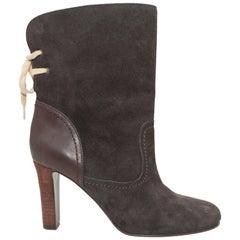 See By Chloe Dark Brown Suede Heeled Boots