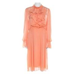 See by Chloe Evening Orange Crepe Georgette Floral Appliqué Ruffled Midi Dress M