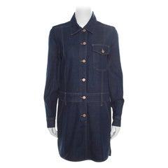 See by Chloe Indigo Dark Wash Denim Long Sleeve Shirt Dress M