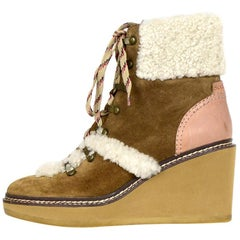 See By Chloe Tan Eileen Shearling-Lined Wedge Hiker Booties sz 39 rt $420