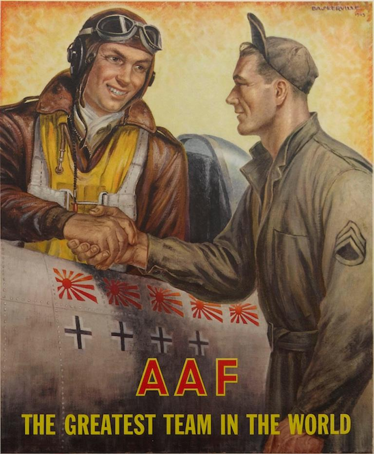 """This 1945 color poster features an American pilot and a ground crew Staff Sergeant shaking hands and the words """"Seeing the Job Through! Enlist in the Regular Army Air Forces"""" at the bottom. Just below the airplane reads, """"AAF The Greatest Team in"""