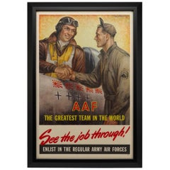 "Army Air Forces Poster, ""See the Job Through"" by Baskerville, WWII Poster, 1945"