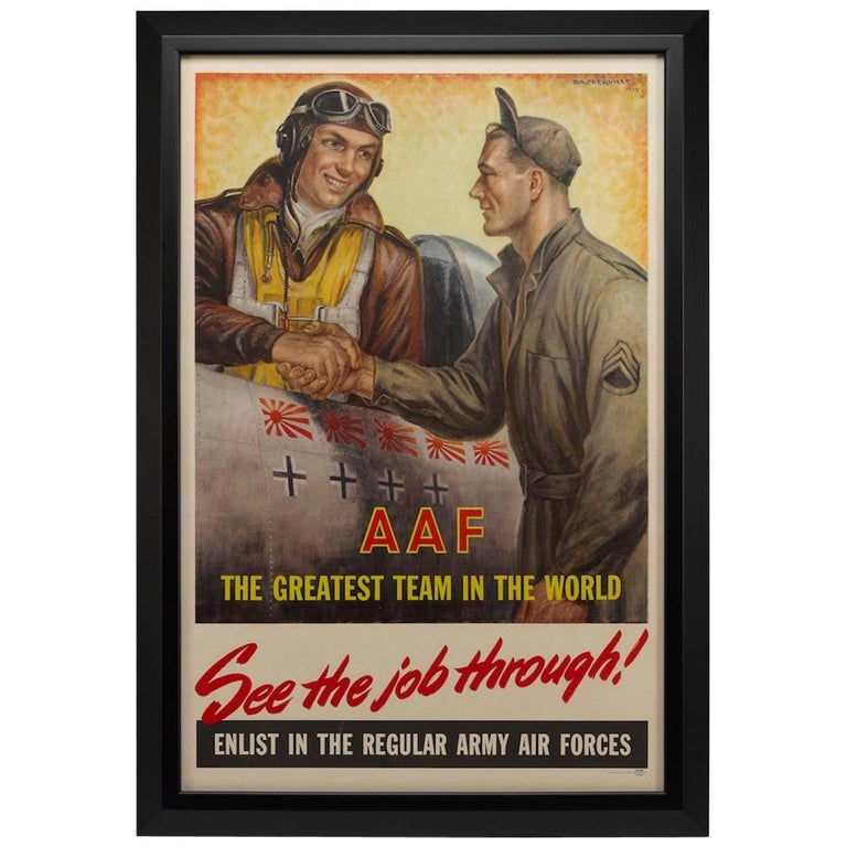 """Army Air Forces Poster, """"See the Job Through"""" by Baskerville, WWII Poster, 1945 For Sale"""