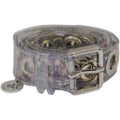 See-through silver hardware belt NWOT