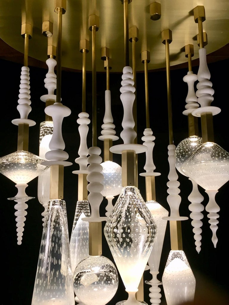 Seed Cloud Chandelier in Blown Glass by Andy Paiko In New Condition For Sale In Philadelphia, PA