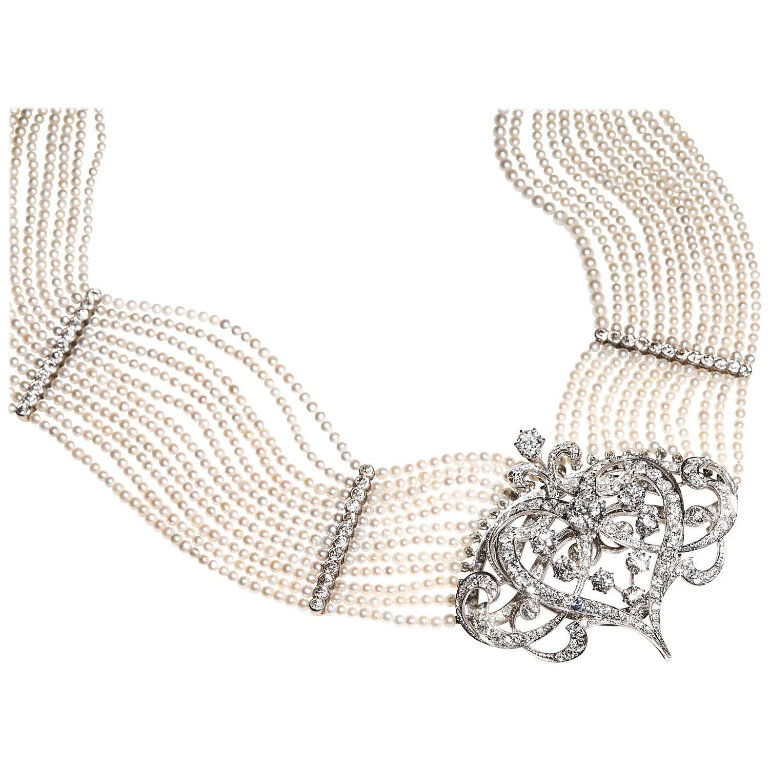 Pearl necklace Vintage beautiful choker of rice-grain seeds-pearls Gold 9K