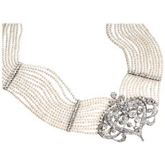 Seed Pearl Diamond Platinum Gold Choker Necklace