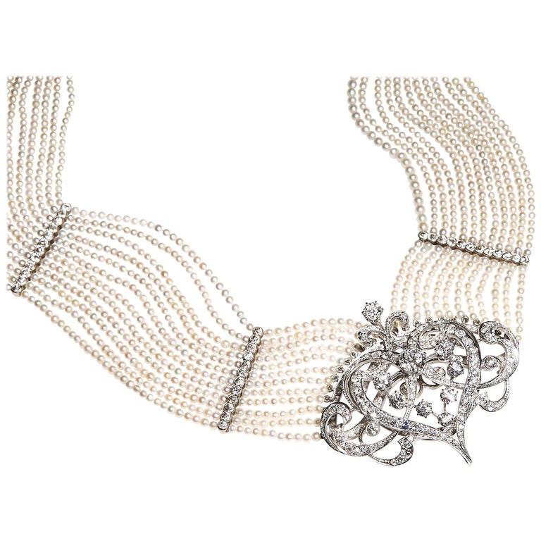 Seed Pearl Diamond Platinum Gold Choker Necklace  For Sale