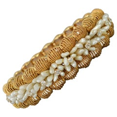 Seed Pearl and Diamonds Gold Bangle Bracelet