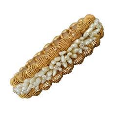 Seed Pearl and Diamonds Gold Bangle Bracelet