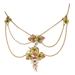 Seed Pearl and Enamel Grapevine Triple Festoon Necklace