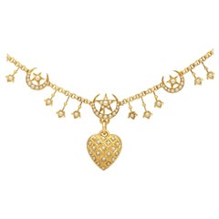 Seed Pearl and Yellow Gold Heart Necklace Antique, circa 1880