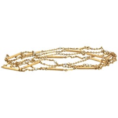 Seed Pearl Chain Extra Long 18 Karat Yellow Gold