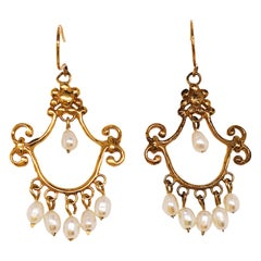Seed Pearl Chandelier Earrings in 14 Karat Yellow Gold, Estate Earrings