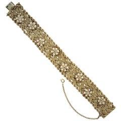Seed-Pearl Diamond Gold Woven Bracelet