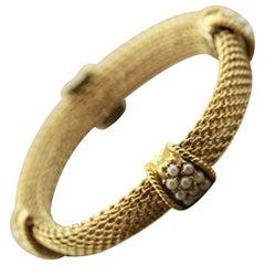Seed-Pearl Gold Mesh Bracelet
