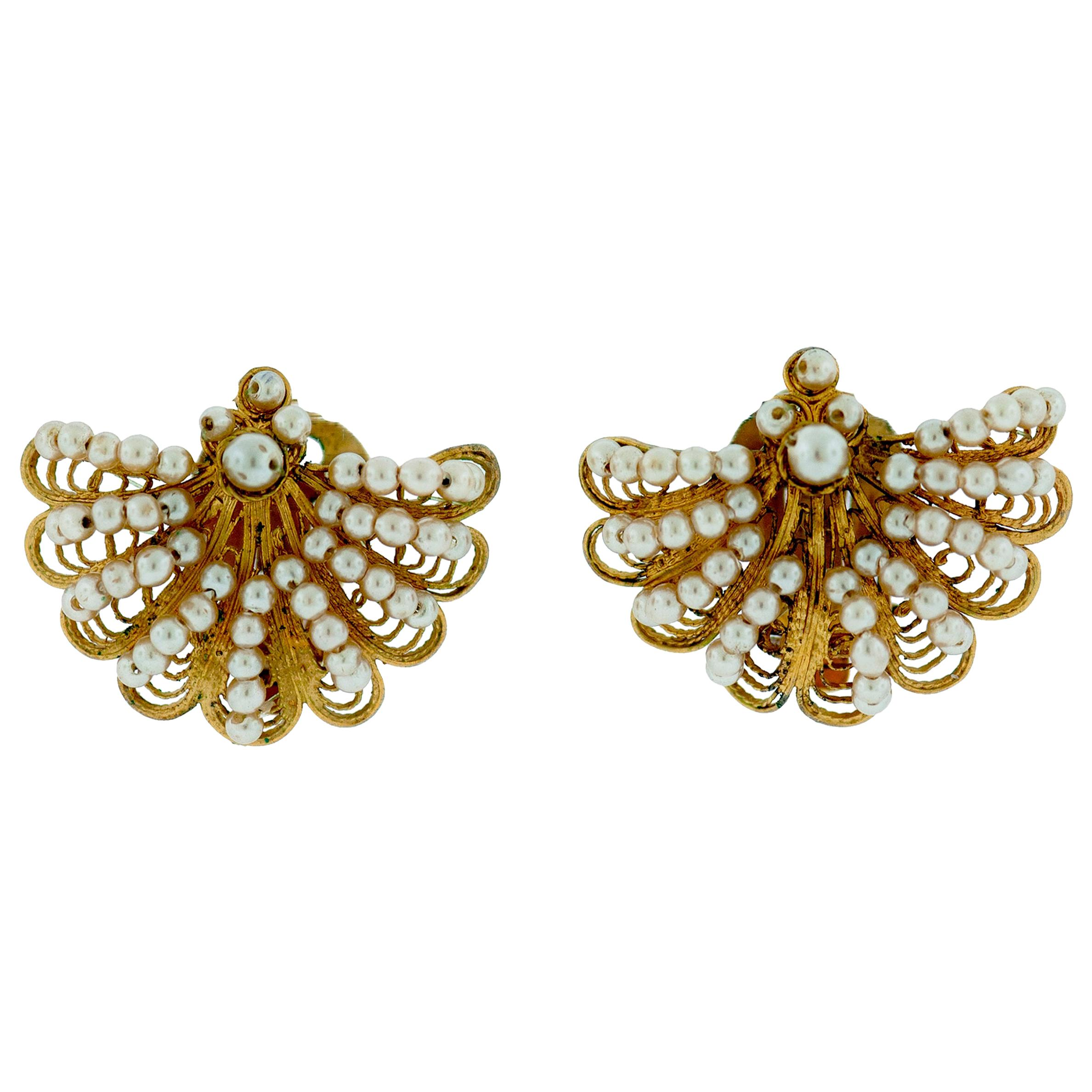 Seed Pearl Tellow Gold Earrings