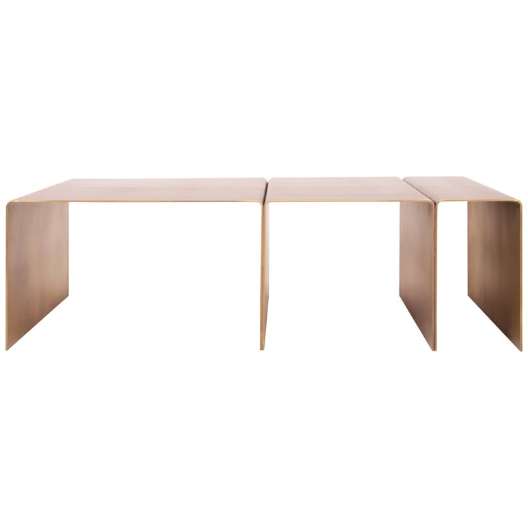 SEGMENT Coffee Table in Burnished Brass by Estudio Persona For Sale