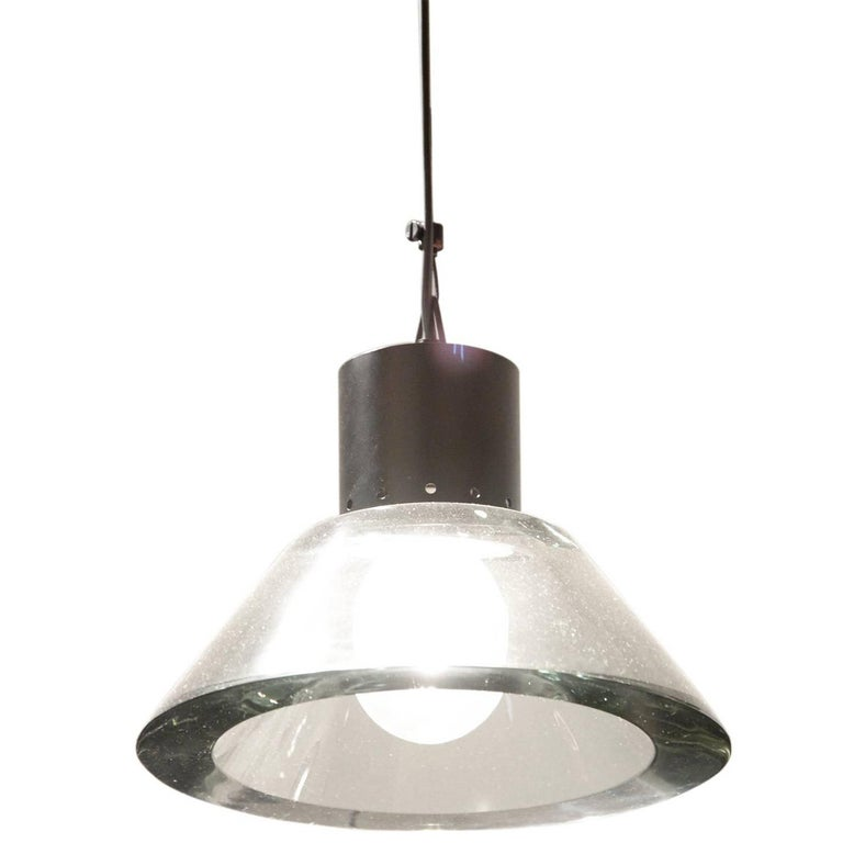 Seguso, Pendant Light in Glass and Lacquered Metal, circa 1950