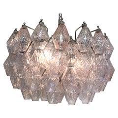 Seguso 1960s Clear & Blush Glass Chandelier