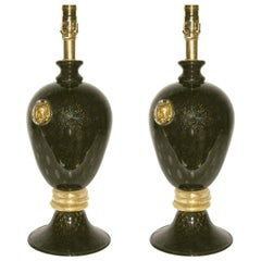 Seguso 1960s Italian Pair of Vintage Black and Gold Murano Glass Lamps