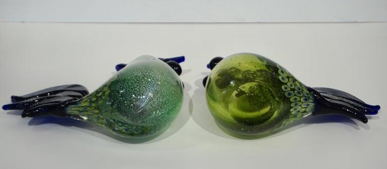 Seguso 1980 Italian Silver Navy Blue Apple Green Murano Glass Hen Bird Sculpture For Sale 4
