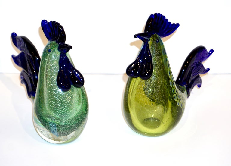 Seguso 1980 Italian Silver Navy Blue Apple Green Murano Glass Hen Bird Sculpture For Sale 5