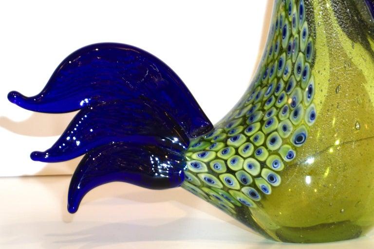 Seguso 1980 Italian Silver Navy Blue Apple Green Murano Glass Hen Bird Sculpture For Sale 1