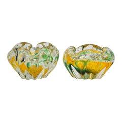 Seguso Attributed 1930s Green Yellow Crystal Murano Art Glass Small Bowls