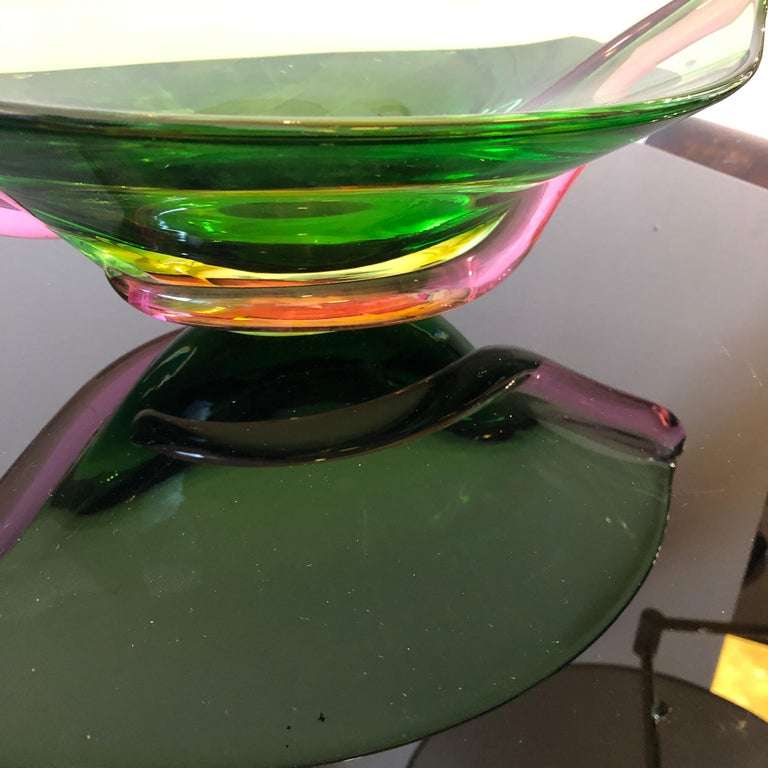 20th Century Seguso Attributed Mid-Century Modern Italian Green Murano Glass Centerpiece 1970 For Sale
