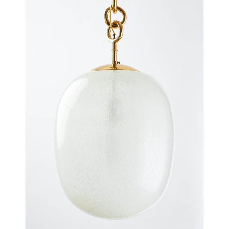 Mid-Century Modern Seguso Blown Pulegoso Glass Oval Lantern, circa 1950 For Sale