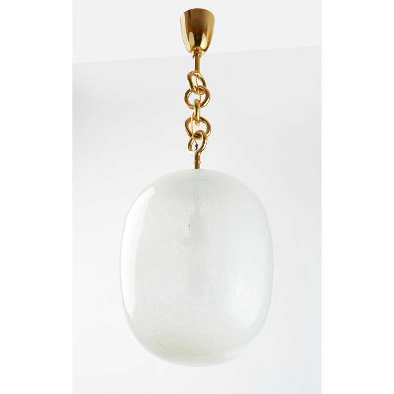 Italian Seguso Blown Pulegoso Glass Oval Lantern, circa 1950 For Sale