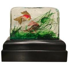 "Seguso ""Cenedese""Table Lamp Murano Glass Wood Aquarium, 1955, Italy"