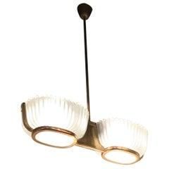 Seguso Chandelier Brass Glass, 1930, Italy