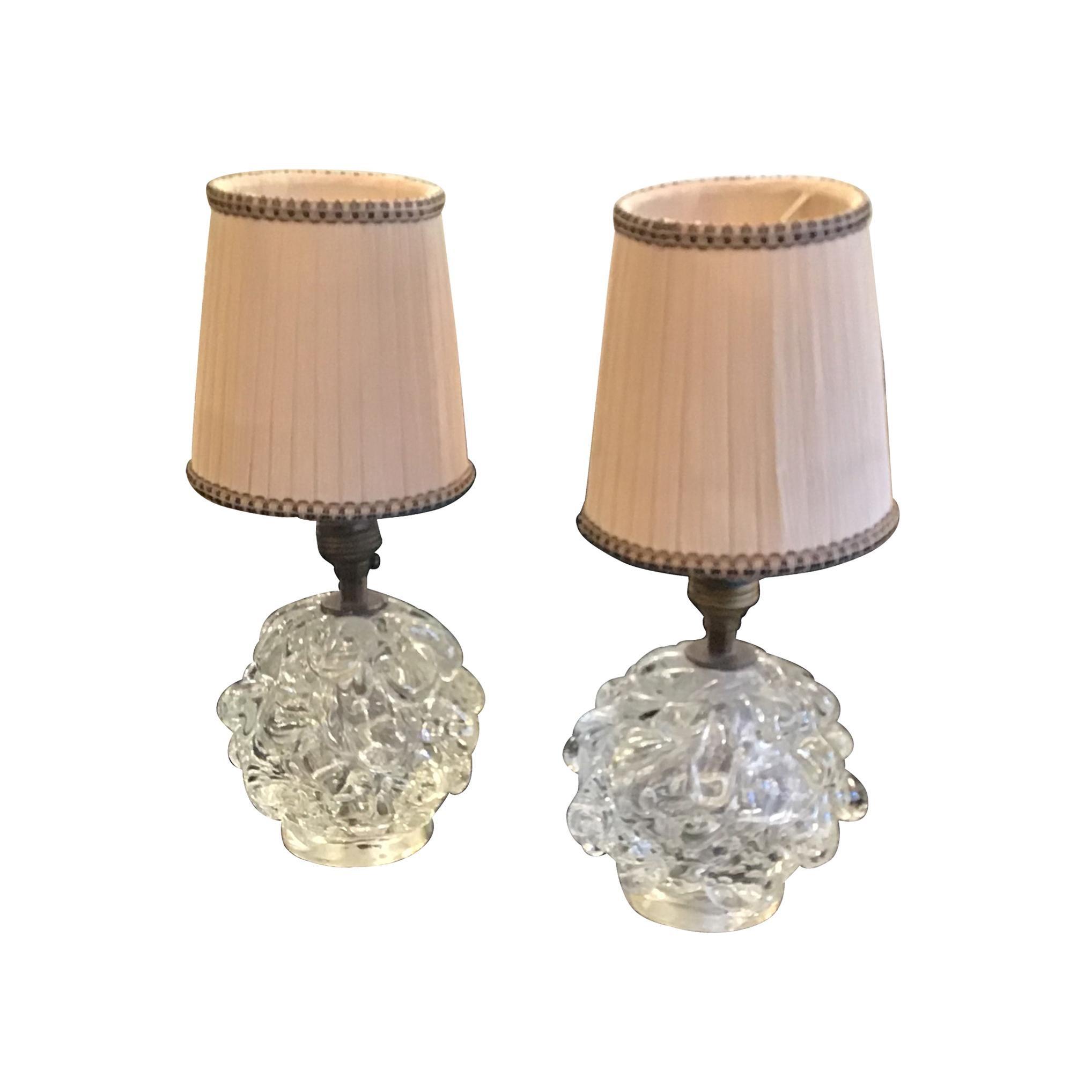 Seguso Couple Table Lamp 1940 Murano Glass Brass, Italy