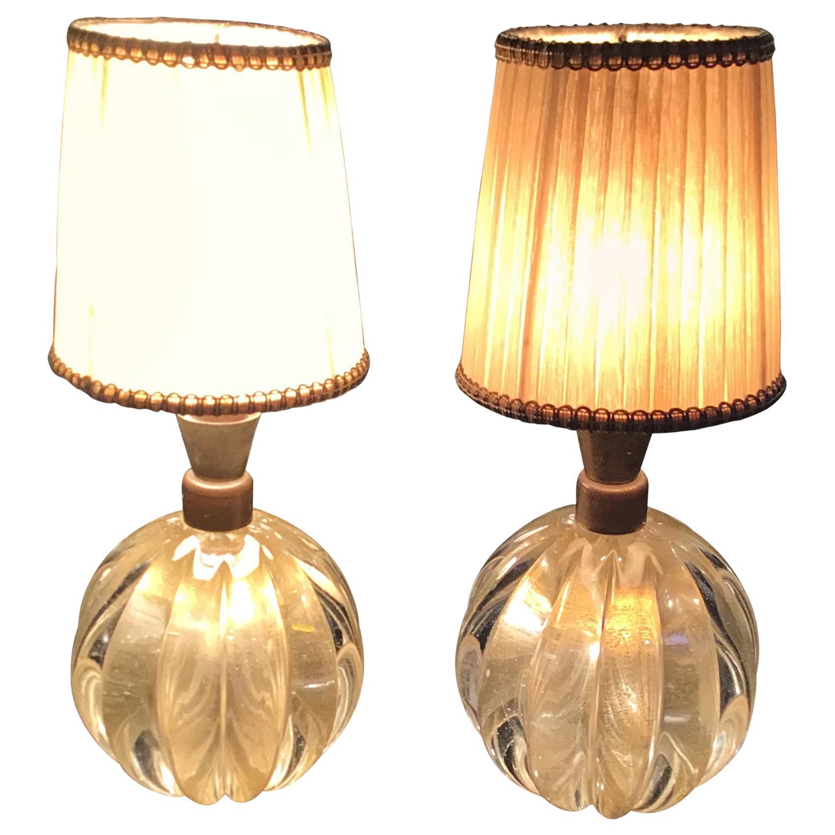 Seguso Couples Table Lamp Murano Glass Brass, 1940, Italy