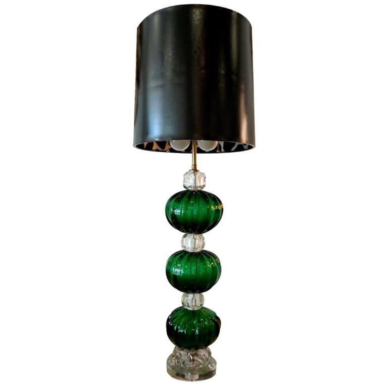 Seguso Murano Emerald Green Glass Stacked Ball Lamp