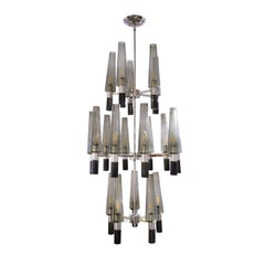 Seguso Exceptional Large Chandelier in Chrome and Smoked Glass Shades, 1990s