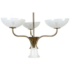 Seguso Filigreed Three-Arm Brass and Murano Glass Chandelier, Italy